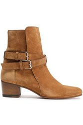 Amiri Woman Buckle Detailed Suede Ankle Boots Light Brown