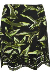 Emilio Pucci Broderie Anglaise And Printed Silk Mini Skirt Multi