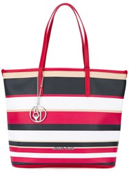 Armani Jeans Striped Shopper Tote Women Pvc One Size Red