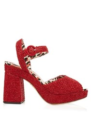Charlotte Olympia Into The Wild Raffia Sandals Red