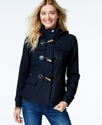 Celebrity Pink Hooded Duffle Coat Navy Text