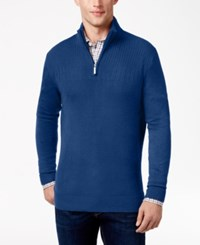 Geoffrey Beene Men's Quarter Zip Drop Needle Sweater Royal