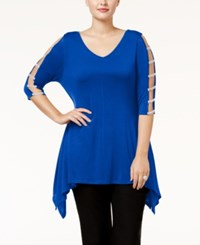 Belldini Plus Size Embellished Handkerchief Hem Tunic Royal Blue