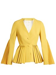 Sara Battaglia Pleated Twill Tailored Jacket Yellow