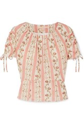 Brock Collection Ruched Grosgrain Trimmed Floral Print Silk Georgette Top Pastel Pink