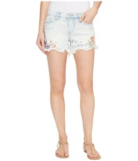 Blank Nyc Floral Embroidered Denim Shorts In Sitting Pretty Sitting Pretty Women's Shorts Blue