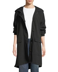 Eileen Fisher Hooded Long Sleeve A Line Coat W Dual Front Closure And Pockets Plus Size Black