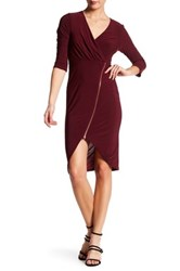 Just For Wraps Surplice V Neck 3 4 Sleeve Front Zip Midi Dress Red