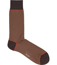 Reiss Roter Colour Blocked Socks In Tobacco