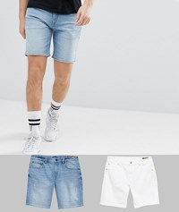 Asos Design Denim Shorts In Skinny White And Light Wash With Abrasions White Light Blue Multi