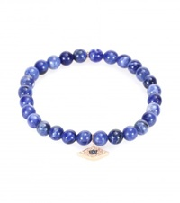 Sydney Evan Small Evil Eye Bracelet With 14Kt Rose Gold Charm White Diamonds And Sapphires Blue