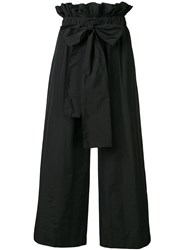 Msgm Flared Bow Trousers Black