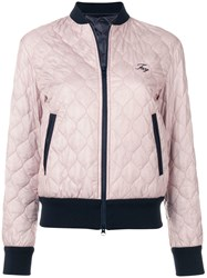 Fay Quilted Bomber Jacket Blue