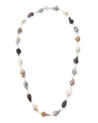 Multicolor Baroque Pearl Long Necklace 35'L Margo Morrison White