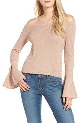 Mimi Chica Women's Ribbed Off The Shoulder Top Rose