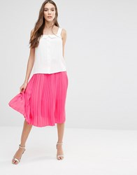 Lavand Pleated Midi Skirt In Pink Fuxia