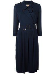 Burberry Belted Shirt Dress Blue
