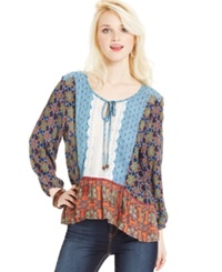 Angie Juniors' Mixed Print Peasant Top Navy