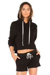 Monrow Oversized Cropped Hoodie Black
