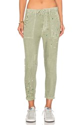 Sundry Paint Splashes Drawstring Pant Olive