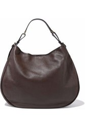 Giorgio Armani Textured Leather Shoulder Bag Dark Brown