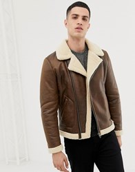 Only And Sons Aviator Jacket Brown Stone