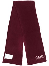 Oamc Contrast Logo Scarf Red