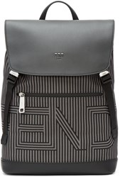 Fendi Black And Grey Striped Logo Backpack