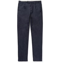 Massimo Alba Blue Slim Fit Pleated Cotton Trousers Navy