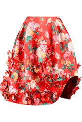 Simone Rocha Floral Appliqued Printed Satin Skirt Red