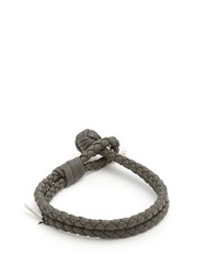 Bottega Veneta Intrecciato Woven Knot Leather Bracelet Grey