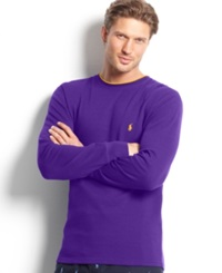 Polo Ralph Lauren Men's Tipped Thermal Crew Neck Shirt Chalet Purple