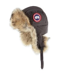 Canada Goose Coyote Fur Aviator Hat Gray