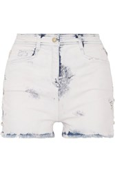 Balmain Lace Up Distressed Denim Shorts Light Denim