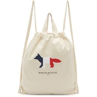 Maison Kitsune Off White Tricolor Fox Tote Backpack