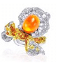 Anna Hu Haute Joaillerie Rose Ribbon Collection Rose Ribbon Ring In Opal Orange
