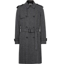 Loewe Checked Wool Mohair And Cashmere Blend Tweed Coat Gray