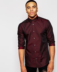 New Look Shirt With Long Sleeves And Split Collar Detail In Red Burgundy