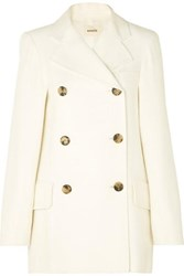 Khaite Clara Double Breasted Woven Coat Ivory