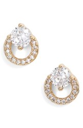 Nordstrom Open Circle Solitaire Stud Earrings Clear Gold