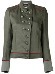 Ann Demeulemeester Military Stand Up Collar Jacket Green
