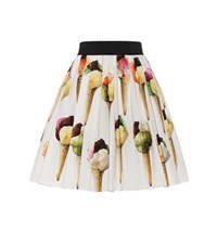 Dolce And Gabbana Printed Cotton Skirt White