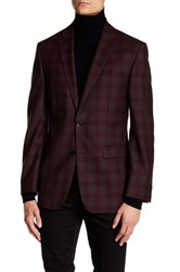 Vince Camuto Burgundy Plaid Two Button Notch Lapel Modern Fit Wool Jacket Brown