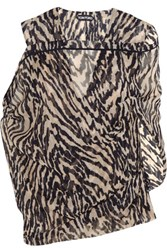 Tom Ford Tiger Print Silk Georgette Blouse Black