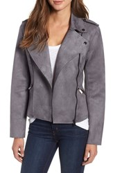 Kut From The Kloth Haddie Faux Suede Moto Jacket Concrete