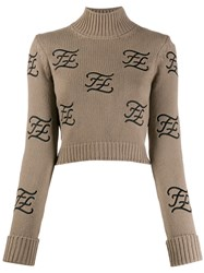 Fendi Embroidered Logo High Neck Jumper Neutrals