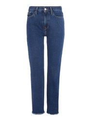 Calvin Klein High Rise Straight Cropped Jean In Stoney Blue Denim Dark Wash