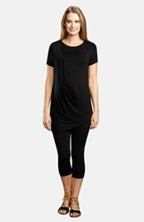 The Urban Ma Women's Pleated Asymmetrical Maternity Tee Black
