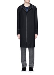 Lanvin Let Out Stitched Seam Wool Coat Black