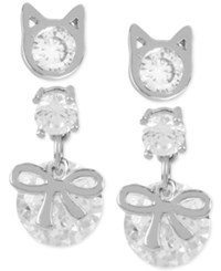 Betsey Johnson Silver Tone Set Of Two Kitty And Bow Crystal Earrings